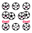 Kawaii soccer ball football icons set vector image