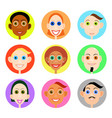 multiethnic avatars set in flat style vector image