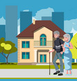 old couple with house home image vector image