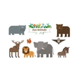 Zoo Animals Flat Icons Set vector image