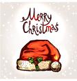 Christmas Card With Hand Drawn Santa Hat vector image