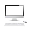 Monitor with keyboard and computer mouse vector image vector image