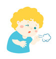 little boy coughing cartoon vector image