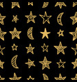 hand drawn star doodles seamless pattern vector image vector image