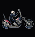 hand drawing skull riding a chopper motorcycle vector image