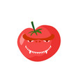 angry tomato aggressive red vegetable dangerous vector image