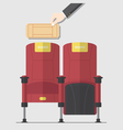 cinema chair in flat design with blank ticket vector image