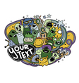 Hand drawn Monsters and cute alien vector image