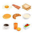 set of isometric food scrambled eggs yolk vector image