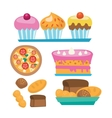 Pizza and assortment of sweet pastry vector image