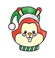 cartoon face squirrel christmas scarf image vector image