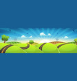 spring rounded landscape with road and rising sun vector image
