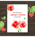 Wedding invitation card with watercolor poppy vector image vector image