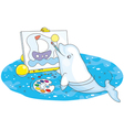 Beluga whale painter vector image