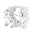 cartoon of businessman kung fu kicking the brick vector image