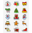 christmas and new year icons set thin simply line vector image