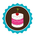 colorful circular border with dessert with cream vector image