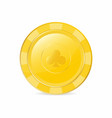 golden gambling chip with club suit realistic chip vector image