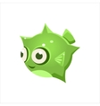Green Puffer Fish vector image
