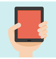 hand with tablet flat design vector image