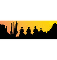 Mexican riders at sunset vector image