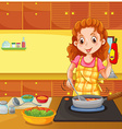 Woman cooking in kitchen vector image