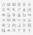 cyber security line icons vector image