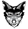 fox head tattoo brand black isolated on white vector image