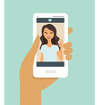hand holding smartphone during a video call vector image