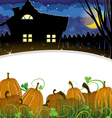 Pumpkins and house vector image