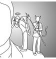 shoulder devil and angel doodle vector image
