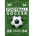 Soccer football poster with field template vector image