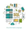 SQL line art concept vector image vector image