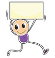 A boy holding an empty signage vector image vector image