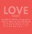 love the alphabet with a heart letters and numbers vector image vector image