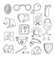 Security and protection icons in sketch style vector image