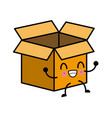 cardboard box isolated kawaii cartoon vector image
