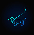 dog on a leash blue icon vector image