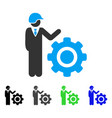 Industrial gear engineer flat icon vector image