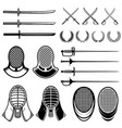 set of fencing design elements fencing swords vector image