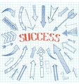 Success arrows icon sketch vector image