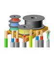 Different kinds of cables are on wooden pallet vector image vector image