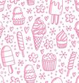 Pink ice cream seamless pattern vector image