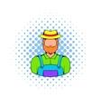 Farmer icon in comics style vector image