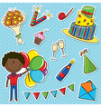 African- American cute boy with color balloons and vector image