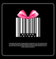 black friday background with gift box of bar code vector image