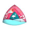 flamingo cartoon paper landscape vector image