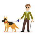 guide-dog blind man with guide dog disability vector image