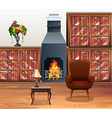 Living room with fireplace in center vector image
