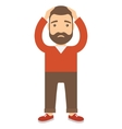 Man with both hands clinging to his head vector image